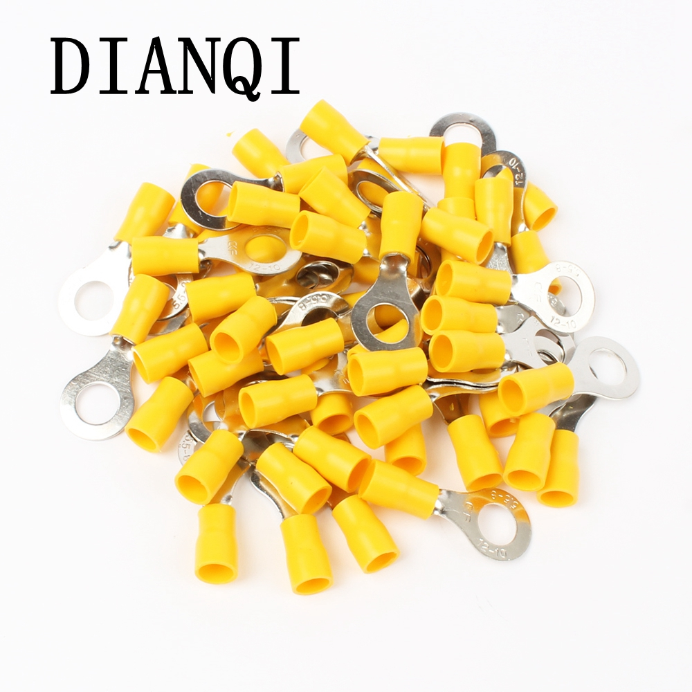 цена на DIANQI RV5.5-8 Yellow Ring insulated terminal suit 4-6mm2 Cable Wire Connector cable Crimp Terminal 50PCS/Pack RV5-8 RV