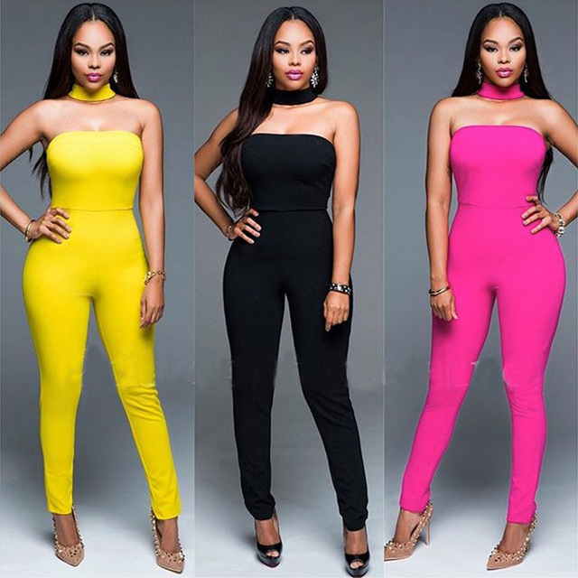 2016 Fashion Strapless Women Summer Jumpsuit Casual Solid Sexy Club Party Bodycon Overalls Black Red Yellow Rompers Piece Pants