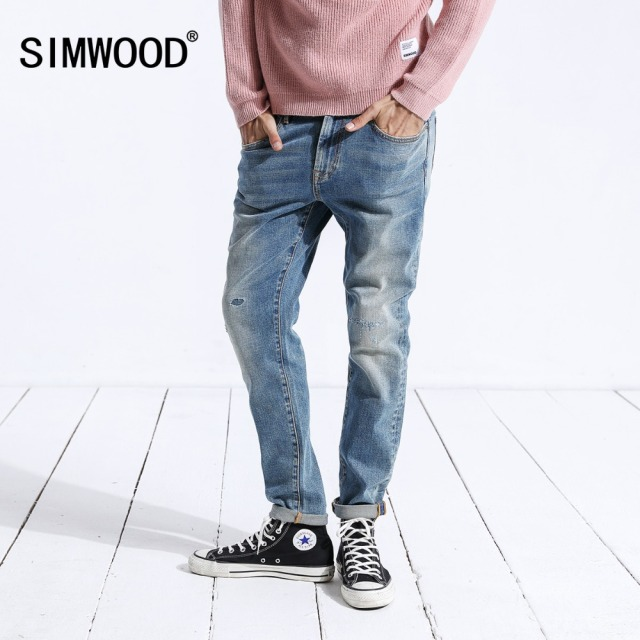SIMWOOD 2018 Autumn Winter New Ripped Jeans Men Slim Fit Hole Hip Hop Denim Trousers Streetwear High Quality Male Clothes 180426