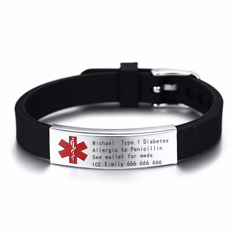 Free Engraving Medical Alert ID Bracelet DIABETES BLOOD ALLERGY ALZHEIMER'S