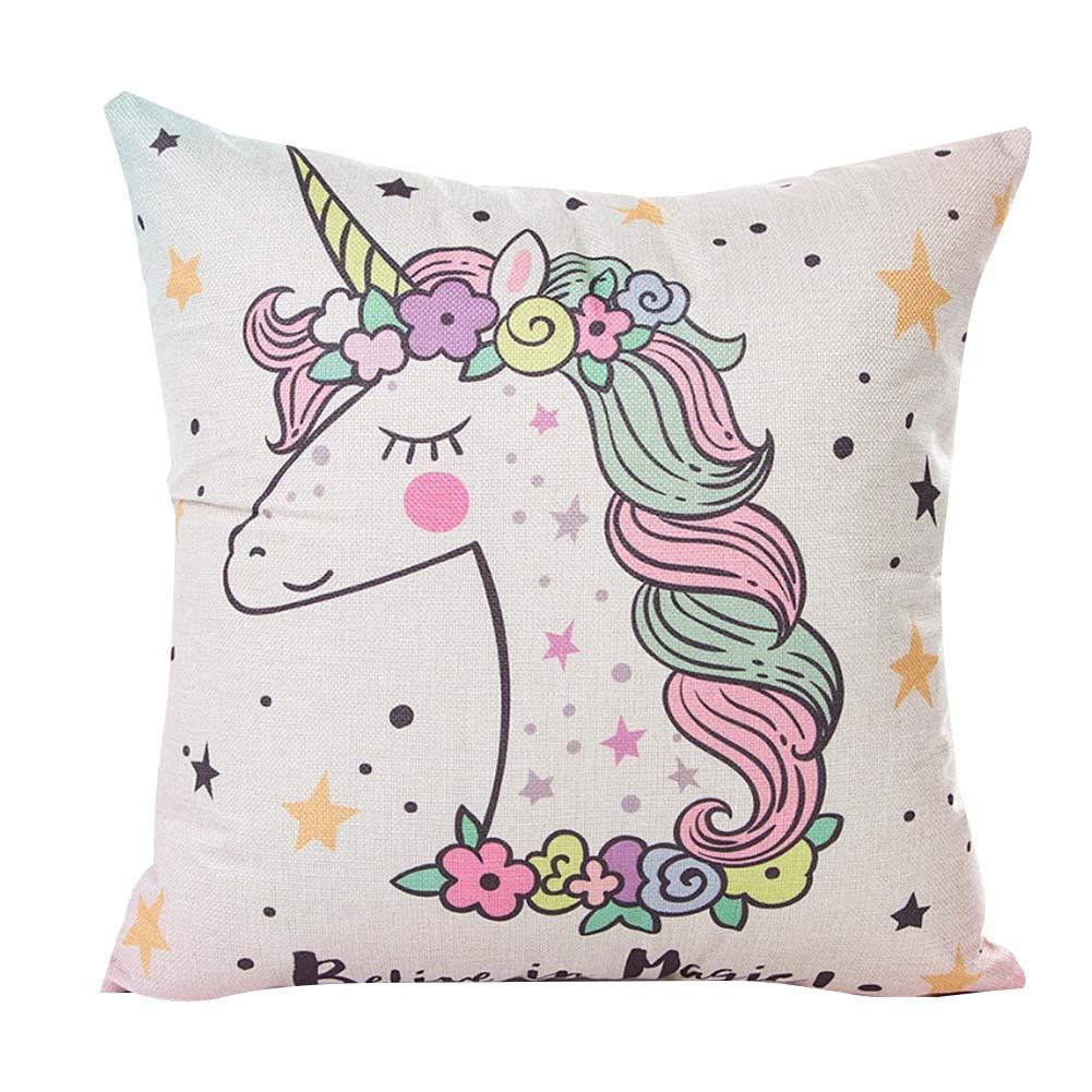Image 4 - 45x45CM Cartoon Unicorn Pillow Case Childlike Rainbow Cute Print Cushion Cover Decorative Throw Pillowcase Car Sofa Home Decor-in Cushion Cover from Home & Garden