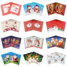 [RainLoong] servilletas de papel de papá Noé muñeco de nieve para decoración de Navidad Guardanapo 33*33cm 5 paquetes (20 unids/pack)