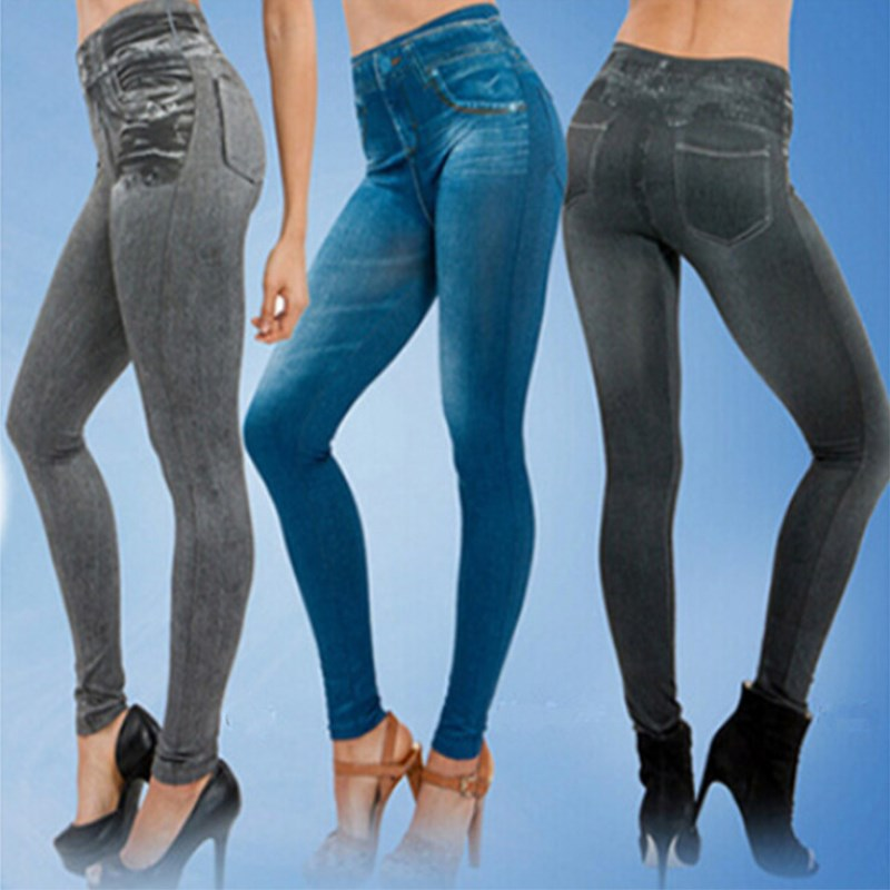 2018 Leggings Jeans For Women Denim Pants With Pocket Slim Leggings Women Fitness