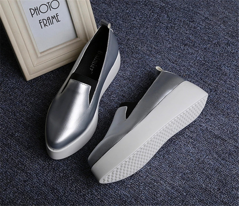 Women Casual Shoes 2017 Spring Autumn New Muffin Bottom Slip On Lazy Flats Shoes Platform Loafers Fashion White Walking Shoes baijiami 2017 new children solid breathable slip on pu casual shoes boys and girls spring summer autumn flat bottom shoes