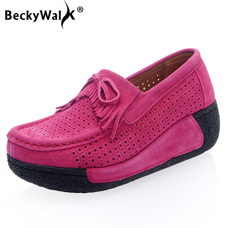 BeckyWalk 2019 Autumn   Suede     Leather   Women Shoes Platform Sneakers Women Creepers Breathable Tassels Casual Shoes Woman WSH2885
