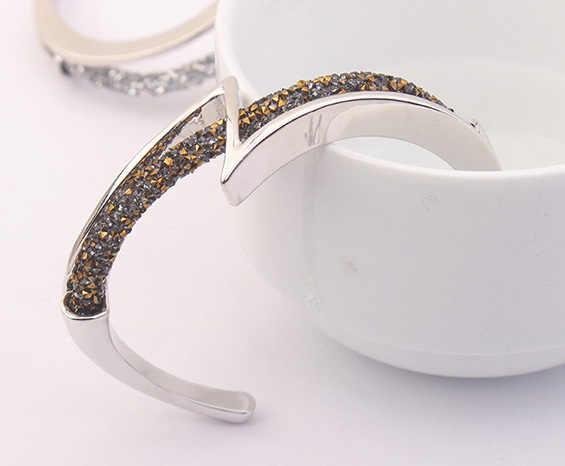 Luxe Merk Sieraden Vrouwen Goud Kleur Bangle Manchet Armband Brazaletes Pulseras Mujer Crystal Van Swarovski Fashion Accessorie