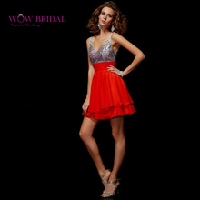 Wowbridal Sexy Red Sequin Prom Dress 2016 Deep V-Neck Crysta