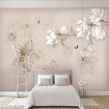 Customized 3d wallpaper hand-painted floral European-style wall decoration painting high-grade waterproof material