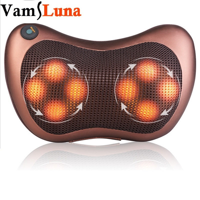 Electric Infrared Heating Kneading Neck Shoulder Back Body Spa Massage Pillow Vibrating Heating Shiatsu Car Chair Relax Device electric infrared heating kneading neck shoulder back spa massage pillow car chair shiatsu massager masaj device pain relief kit