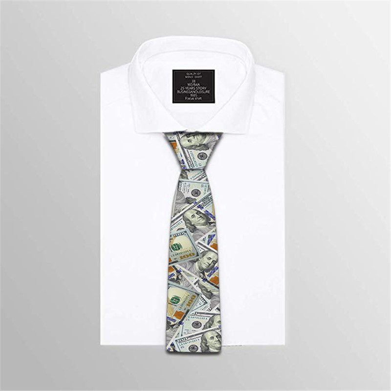 Fashion Men Novelty Ties Classic Tie Money Printed Necktie For Men Business Wedding Party Accessories 5LD05