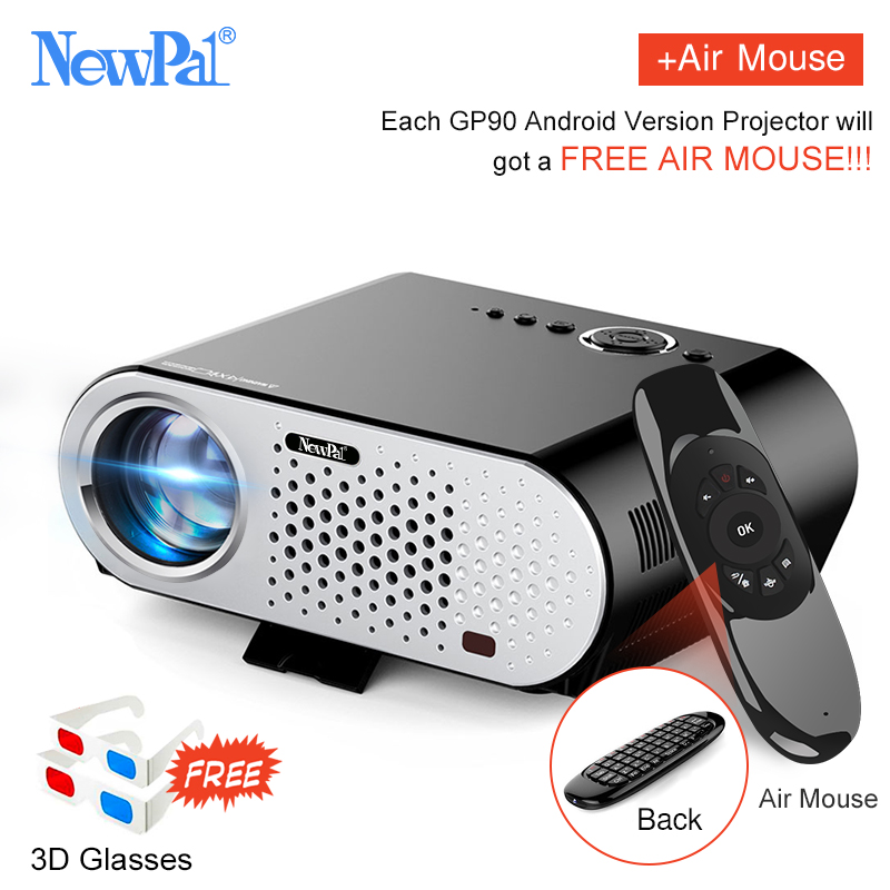 Newpal Projector GP90UP 3200 Lumens Projectors 1280*768 Android Bluetooth WIFI Mini Beamer Support Airplay Miracast AC3 LED TV newpal dlp projector full hd video mini 3d projector android 7 0 portable beamer support wifi miracast airplay dlna tf tv