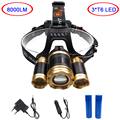 Powerful 3xT6 led rechargeable headlamp 18650 zoomable headlight 4-modes head lamp torch light+battery car charger for hunting