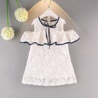 Baby Girl Fashion Summer Dress White Lace Shoulder Elegant Princess Dresses