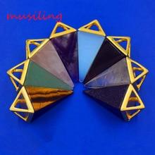 2016 The Pyramid Amethyst Moonstone Natural Stone Pendant Accessories European Fashion Jewelry 16pcs