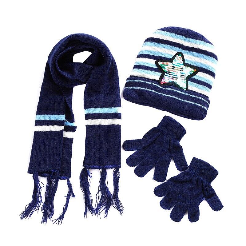 Hot Selling Children Winter Warm Knitted Beanie Cap Scarf Gloves Set Sequin Pentagram Pattern -B5
