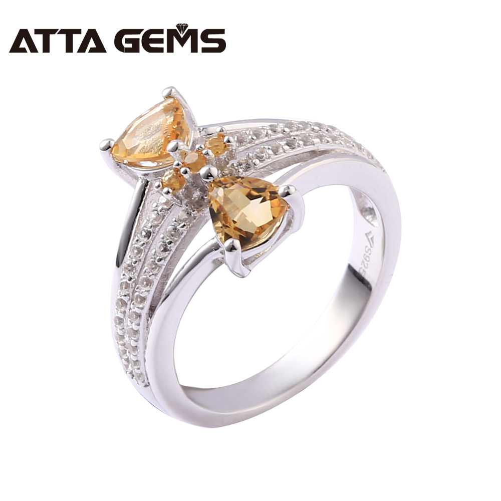 Natural Citrine Silver Rings Women Lovely Romantic Style Wedding Rings 1.68 Carats Natural Citrine Solid Silver Women Rings GiftNatural Citrine Silver Rings Women Lovely Romantic Style Wedding Rings 1.68 Carats Natural Citrine Solid Silver Women Rings Gift