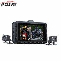 DV168 Dual Lens Motorcycle Car Mounted Biker Action Video Camera DVR Front Back 3 0 LCD