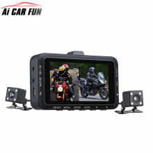 Wholesale prices DV168 Dual Lens Motorcycle Car Mounted Biker Action Video Camera DVR Front Back 3.0″ LCD Night Vision 130 Degree Wide Angle