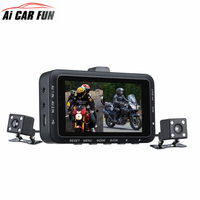 DV168 Dual Lens Motorcycle Car Mounted Biker Action Video Camera DVR Front Back 3.0 LCD Night Vision 130 Degree Wide Angle