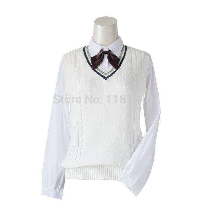 women Green tea / brown color collar V-neck cotton vest