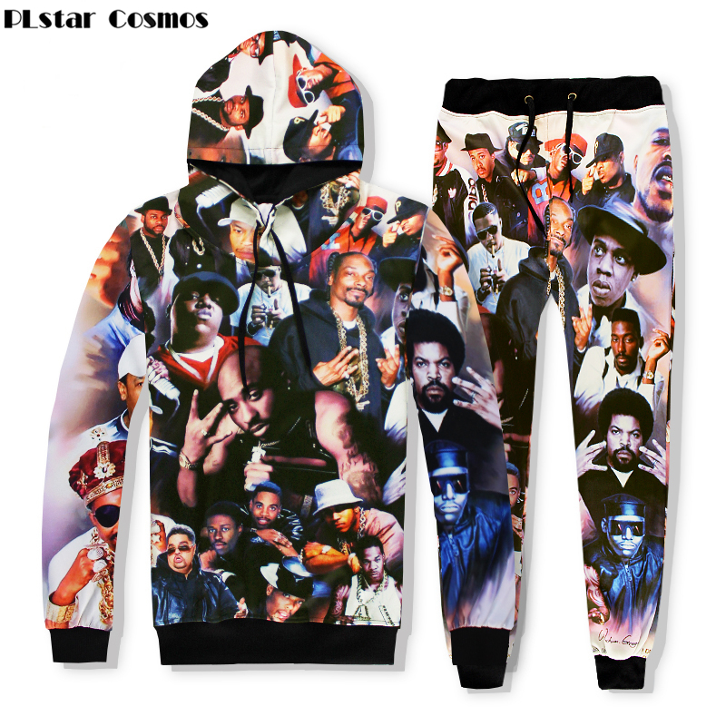 PLstar Cosmos 2017 new Hip Hop Hoodies Men Fashion 3d Hoodies Print Rapper 2Pac Tupac Hooded Sweatshirts+joggers pants Sets