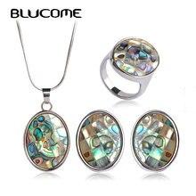 Blucome clásico abalone Conchas Juegos de joyería para las mujeres señora party francés Ganchos Pendientes de broche collar anillo conjunto Accesorios de boda
