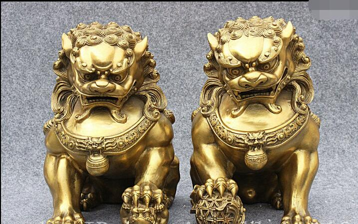 11 Classic Chinese Pure Brass Feng Shui Foo Fu Dog Guardion Lion Pair Art Statue fast11 Classic Chinese Pure Brass Feng Shui Foo Fu Dog Guardion Lion Pair Art Statue fast