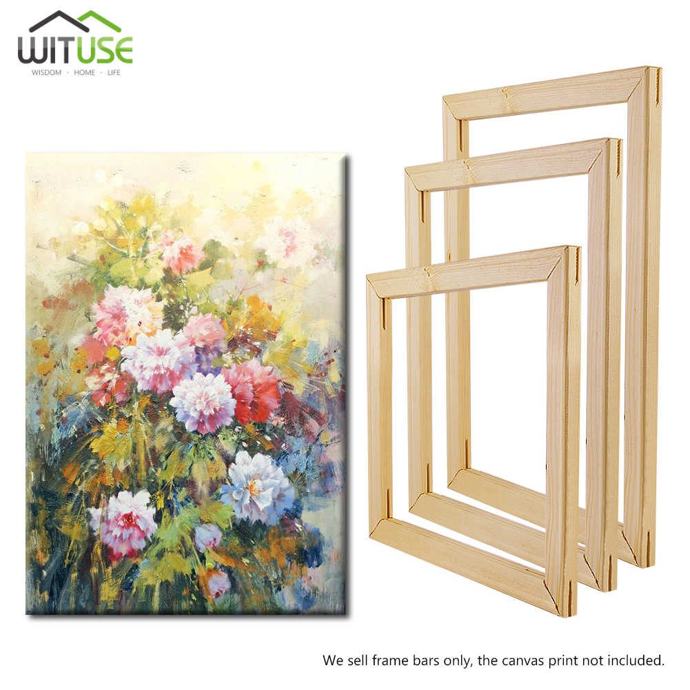 2Pcs 20-60cm DIY Canvas Wooden Frame Wood Strip Stretcher Bar Home Office Gallery Wall Art(A Canvas Frame System Needs 4pcs)