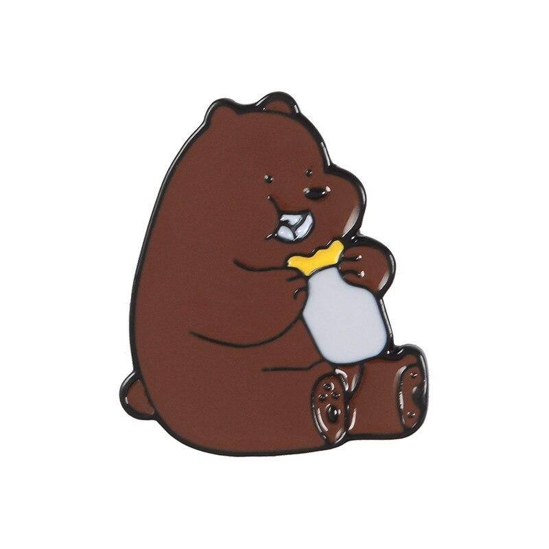 Булавка в виде животных из мультфильма голые медведи Милая гризли панда ледяной медведь джинсовые эмалированные булавки Kawaii нагрудные броши значки модные подарки - Окраска металла: Brown bear