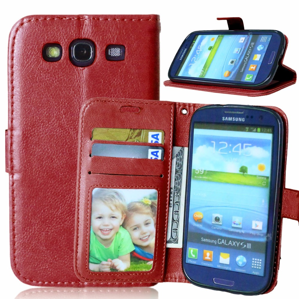 brand new f65c0 8494f US $3.74 15% OFF Retro Crazy Horse Leather Case For Samsung Galaxy S3 SIII  I9300 Accessories Wallet Stand Flip Cover coque capinha phone bags-in ...