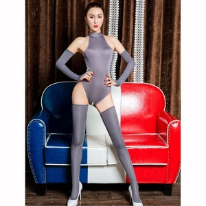 Image 1 - 3 teile/satz Eis Seide Glänzend Ouvert Bodystocking Sexy Hot Erotic Öffnen Gabelung Bodysuit Dessous Körper Anzug Babydoll Exotische Teddies