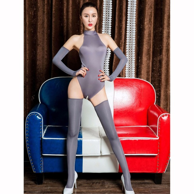 3pcs/set Ice Silk Glossy Crotchless Bodystocking Sexy Hot Erotic Open Crotch Bodysuit Lingerie Body Suit Babydoll Exotic Teddies