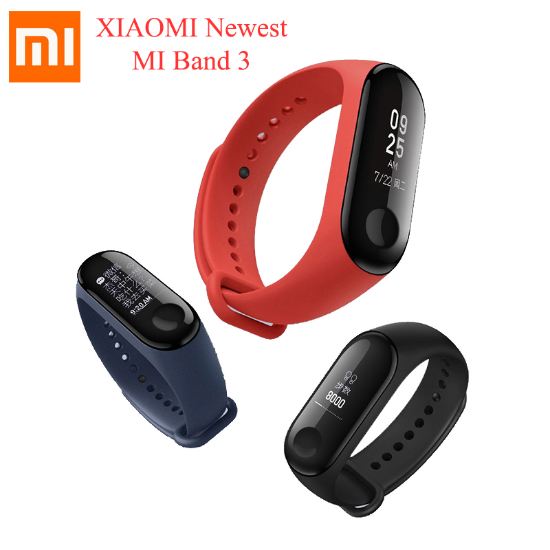 Origine Xiao mi mi Bande 3 Mondial Version Étanche bracelet connecté 0.78 pouces OLED Message Appelant ID Smart Push Message mi bande 3