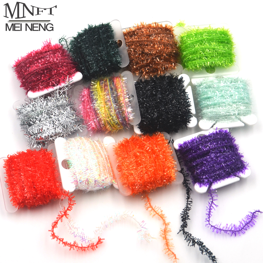 MNFT 10 Color 100m/Lot Fly Fishing Tinsel Chenille Crystal Flash Line Rig Bait Making Assorted Fly Tying Streamer Flies Material 5sheets pack 10cm x 5cm holographic adhesive film fly tying laser rainbow materials sticker film flash tape for fly lure fishing