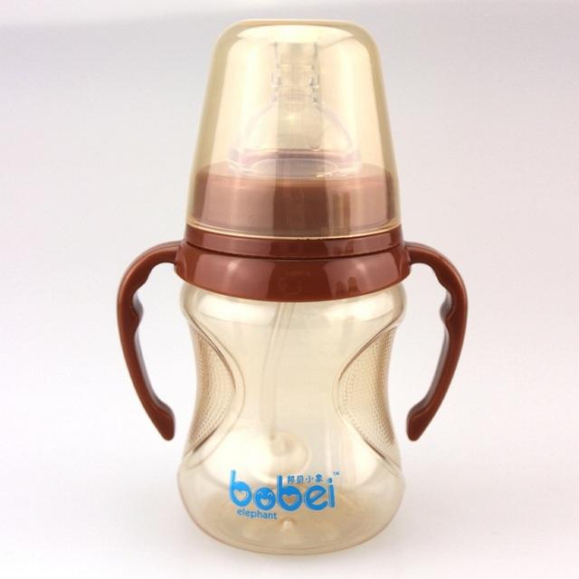 180 280 ml bobei cute baby copa crianças aprendem a beber alimentação garrafa alça garrafa bebê recém-nascido crianças palha suco de garrafa de água