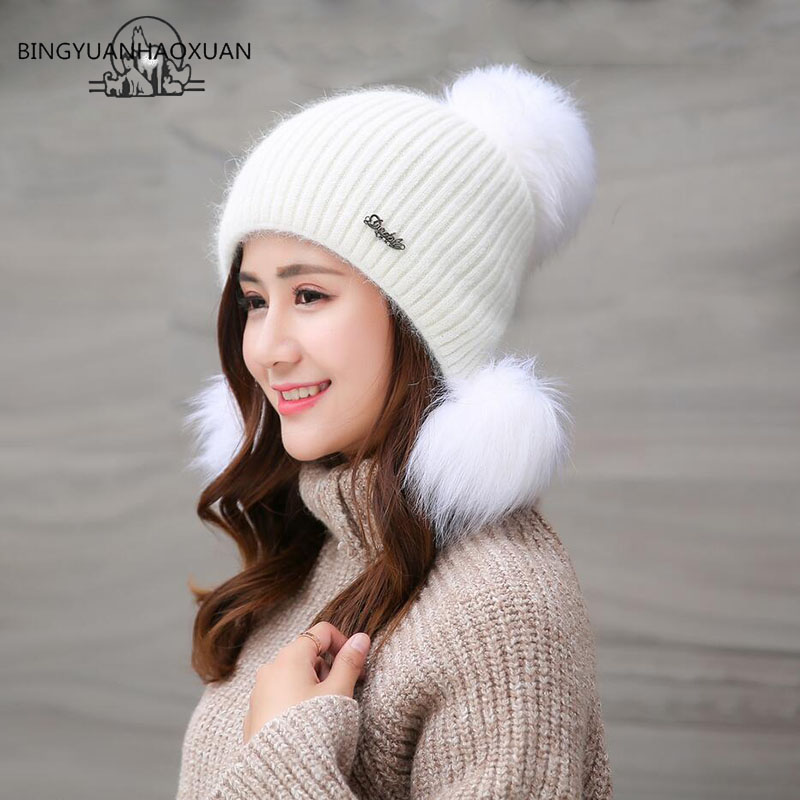 BINGYUANHAOXUAN Winter Fur Pompom Winter Hats Cute Cartoon Knitted Car Hats Ear Hat Hot Thick Cotton Women Cap 2017 Adult Hats