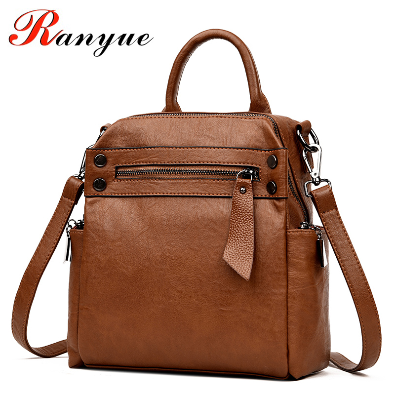 RANYUE  Women Backpack High Quality PU Leather Mochila Escolar School Bags For Teenagers Girls Top-handle Backpacks Sac A Dos dida bear brand women pu leather backpacks female school bags for girls teenagers small backpack rucksack mochilas sac a dos