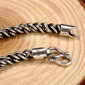 Image 5 - ZABRA אמיתי 925 כסף סטרלינג צמיד איש 5mm עובי 18 אורך פאנק רוק בציר Weave צמיד מאן תכשיטים