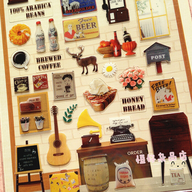 Diary of Cafe Decorative Sticker Set Diary Album Label Sticker DIY ...