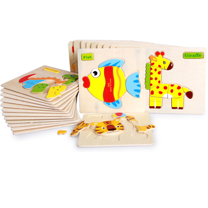 6 Pcs/lot Quality Three-Dimensional Colorful Wooden Puzzle Educational Toys Developmental Baby Toy Child Early Training Game