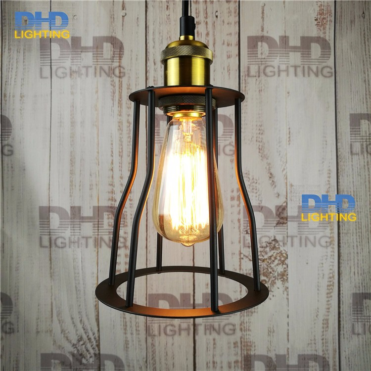 Painted Iron Retro vintage pendant light Countryside Edison Bulb 110-240v Dia: 150mm iron cage Retro Pendant lamp e27 vintage edison loft style vintage light industrial retro pendant lamp light e27 iron restaurant bar counter hanging chandeliers lamp