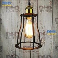 Lámpara colgante vintage Retro de hierro pintado bombilla Edison campo 110-240v Dia: 150mm jaula de hierro lámpara colgante Retro e27 vintage