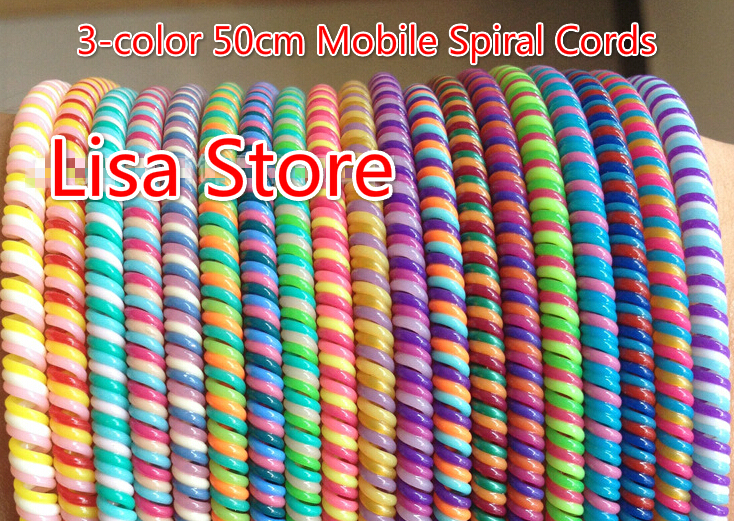 Triple Colors Plastic spring Protective sleeve Mobile Tablet Spiral Cord Protector for Cell Phone iPhone Charger Earphone Cords