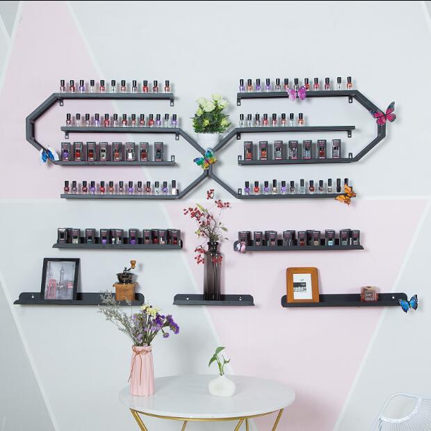 Nail salon nail polish glue display rack iron hanging wall shelving cosmetic store hanging wall storage rack - 4
