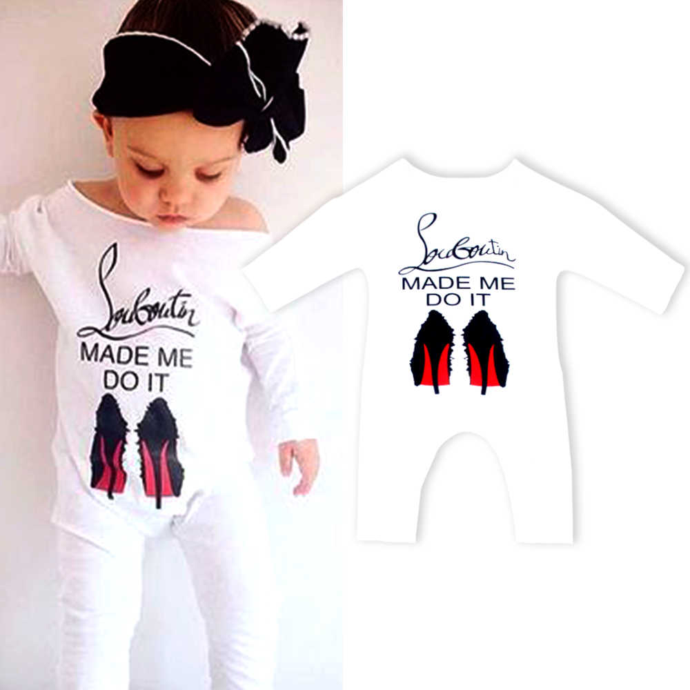 e91d92ad8d85 Baby Girl Romper MADE ME DO IT Letter White Long Sleeve Toddler Jumpsuit  Infant Clothing Baby