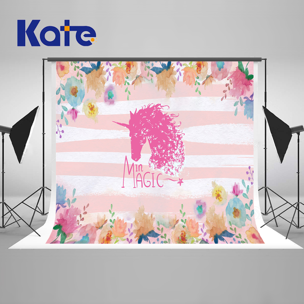 Kate 7x5ft Birthday Photography Unicorn Party Theme Backdrop Pink Wall Photo Backgrounds Props for Customized Fond Studio kate photo background birthday custom photography backdrop unicorn party backdrop pink and white striped backdrop