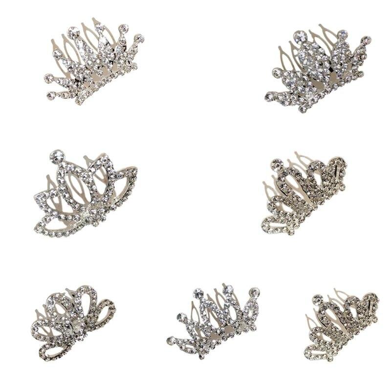 Mini Tiaras Hair Comb Crystal Rhinestone Wedding Small Crown Kids Doll