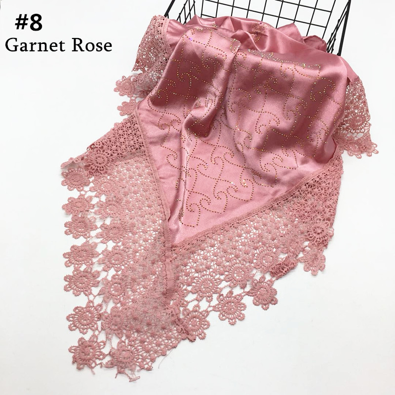 Hot sale solid plain stain silklike 110*100cm hot diamond lace side Muslim hijab kerchief women square scarf wraps shawls 10pcs
