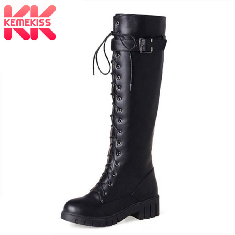 KemeKiss Size 34-43 Women High Heel Boots Riding Motorcycle Cross Strap Thick Heel Boot Knee High Boot Punk Gothic Lace Up Botas cicime summer fashion solid rivets lace up knee high boot high heel women boots black casual woman boot high heel women boots