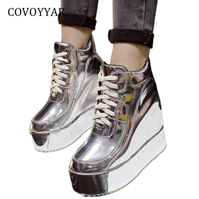 COVOYYAR Hidden Wedges Casual Shoes Platform Women Sneakers 2019 Patent Leather Lace Up Ankle Martin Boots Golden/Silver WSN695